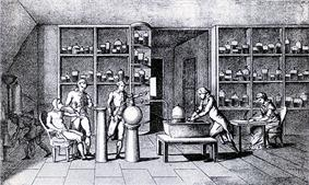 Black and white engraving of Lavoisier's laboratory, man seated at left with a tube attached to his mouth, man at center conducting experiment, woman seated at right drawing, other people visible
