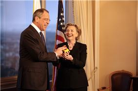 Clinton with Sergey Lavrov and the reset button