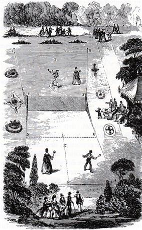 view of a lawn tennis court in 1874