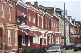 Row houses are common throughout Lawrenceville.