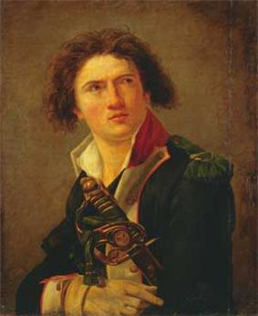 Painting of a man with wide-set eyes and a shock of thick brown hair. He wears a dark blue military uniform with the collar loosely open and the hilt of his sword is visible.