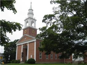 The First Congregational Church on the Green, site of the first town council and featured on the town seal