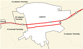 Border detail of Lebanon and surrounding municipalities