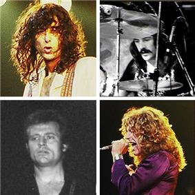 A square quartered into four, each with a head-shot photograph of each of the four members of Led Zeppelin.