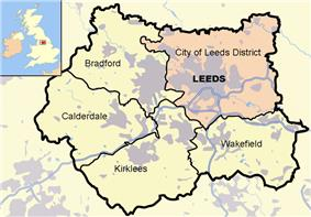This map shows the locations of Leeds (coloured pink) and the other four metropolitan boroughs of West Yorkshire (clockwise from Leeds: Wakefield, Kirklees, Calderdale and Bradford). County and borough boundaries are black, urban areas grey, motorways blue with white stripe, rivers and bodies of water light blue. An inset shows a map of Great Britain with the location of West Yorkshire highlighted.