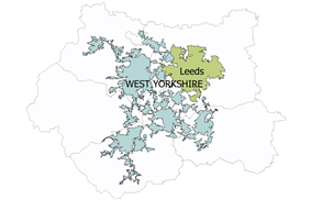 A map of West Yorkshire showing the Leeds urban subdivision of the West Yorkshire Urban Area coloured green and the rest of the Urban area coloured blue-grey