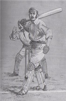 Drawing of a batsman hit on the pads by the ball. The wicketkeeper is about to appeal.