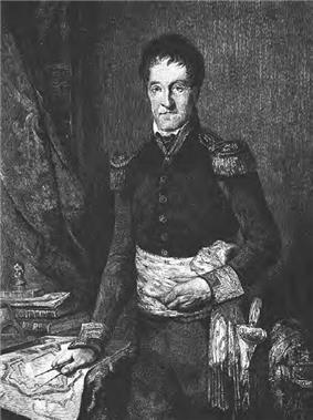 Blank and white print of a hatless man standing next to a desk with his hand on a map. He wears a dark military uniform with epaulettes, a sash around his waist and colored cuffs.
