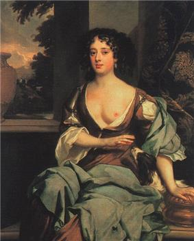 The picture centres on an attractive woman in her late twenties, dressed in long flowing robes suggesting a rural idyll, with one breast exposed towards the viewer. She has dark hair, and a wistful expression.