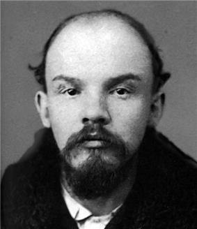 a mugshot of a young bald man with a Van Dyke beard stares at the camera