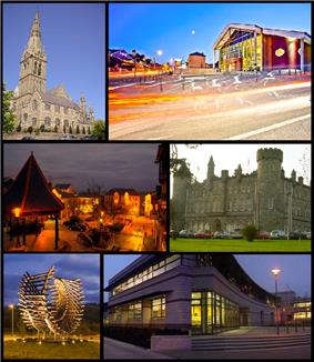 From top, left to right: St. Eunan's Cathedral, An Grianán Theatre, Market Square, St. Eunan's College, Polestar Roundabout, Letterkenny Institute of Technology.