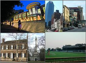 Clockwise from bottom left: Mary Todd Lincoln House, Lexington Center, Lexington Financial Center, Victorian Square, Keeneland, Henry Clay Grave