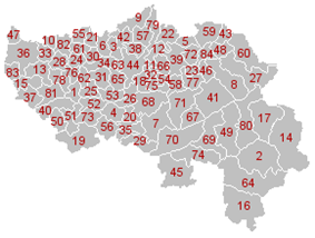 Map of the municipalities in Liège