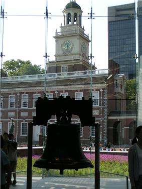 The Liberty Bell hangs in a glass-backed structure, with a brick, 18th-century building with a steeple visible in the background.