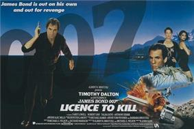 In the left of the picture stands a man dressed in black pointing a pistol towards the viewer. An inset picture shows two women looking out of the poster above another man and a few images depicting vehicles and explosions. The name '007' appears in the top right whilst in the centre at the bottom are the words