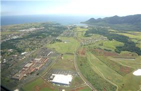 Aerial view of Lihue