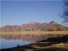 A view of Likhoele, Mafeteng's second highest mountain, from the reservoir by Kingsgate Primary School