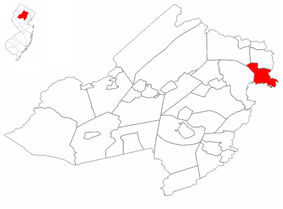 Lincoln Park highlighted in Morris County. Inset map: Morris County highlighted in the State of New Jersey.