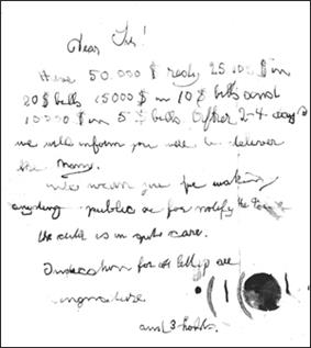 Ransom note left at site of Lindbergh baby kidnapping