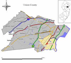 Location of Linden in Union County. Inset: Location of Union County highlighted in the State of New Jersey.