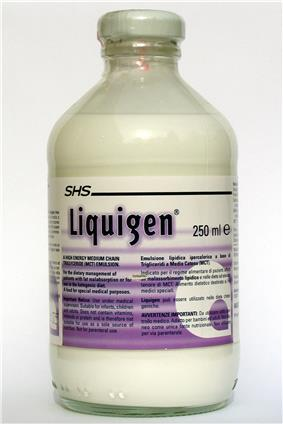 A glass bottle of 250 ml of Liquigen, a white opaque liquid