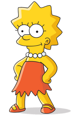 A yellow-skinned cartoon character. She has large, beady eyes and is wearing a strapless red-orange dress and sandals, and a white beaded necklace. She has her hands on her hips and smiles slightly.