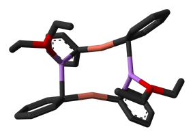 Lithium diphenylcuprate etherate dimer from crystal structure - 3D stick model