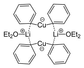 Skeletal formula of lithium diphenylcuprate etherate dimer