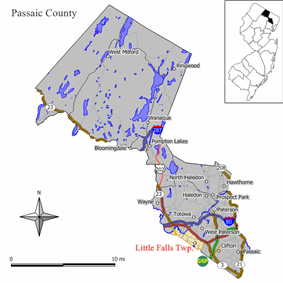 Map of Little Falls in Passaic County; Singac is located in the western end of Little Falls. Inset: Location of Passaic County highlighted in the State of New Jersey.