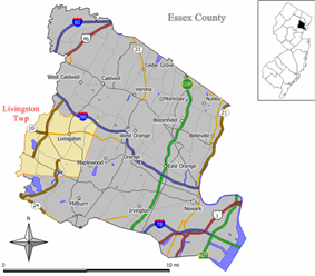 Map of Livingston Township in Essex County. Inset: Location of Essex County in the State of New Jersey.