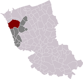 Location of Bourbourg in the arrondissement of Dunkirk