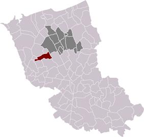 Location of Eringhem in the arrondissement of Dunkirk
