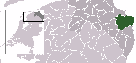 Highlighted position of Oldambt in a municipal map of Groningen