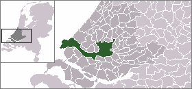 Highlighted position of Rotterdam in a municipal map of South Holland