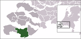 The town centre (dark green) and the statistical district (light green) of Sas van Gent in the municipality of Terneuzen.