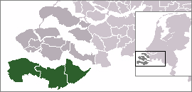 Location of Zeelandic Flanders in Zeeland, Netherlands