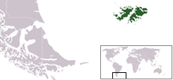Map showing the Falkland Islands