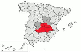 In red, location of the natural region of La Mancha. In dark gray, present-day Castilla–La Mancha autonomous community territories not included in historical La Mancha.