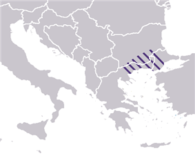 Byzantine province:  Macedonia excluded Thessaloniki and occupied only the Eastern part of the contemporary geographical area (approximate borders).