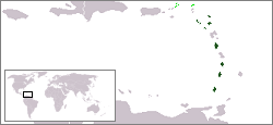 Map of the Eastern Caribbean showing OECS member states (dark green) and associate member states (light green).