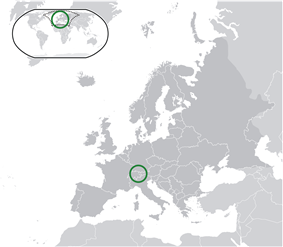 Map showing Liechtenstein in Europe