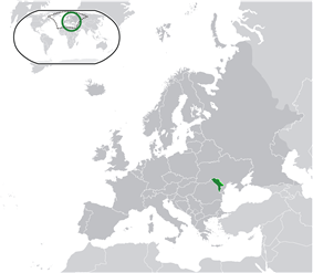 Location of '''Moldova''' (green) and<br/> (light green) in Europe.