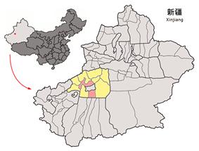 Location of Aksu City (pink) in Aksu Prefecture and Xinjiang