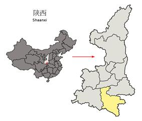 Location of Ankang City jurisdiction in Shaanxi