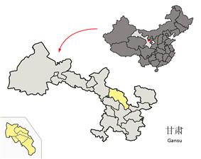 Location of Baiyin Prefecture within Gansu