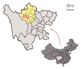 Barkam County (red) in Ngawa Prefecture (yellow) and Sichuan