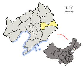 Location of Benxi City jurisdiction in Liaoning