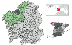 Location of Bergondo within Galicia
