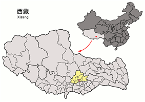 Chengguan District (pink) within Lhasa (yellow)