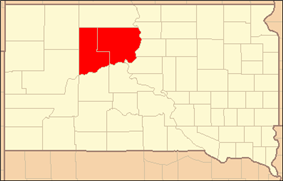 Location of Cheyenne River Indian Reservation, South Dakota